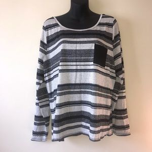 Dress barn black white shimmer stripped top